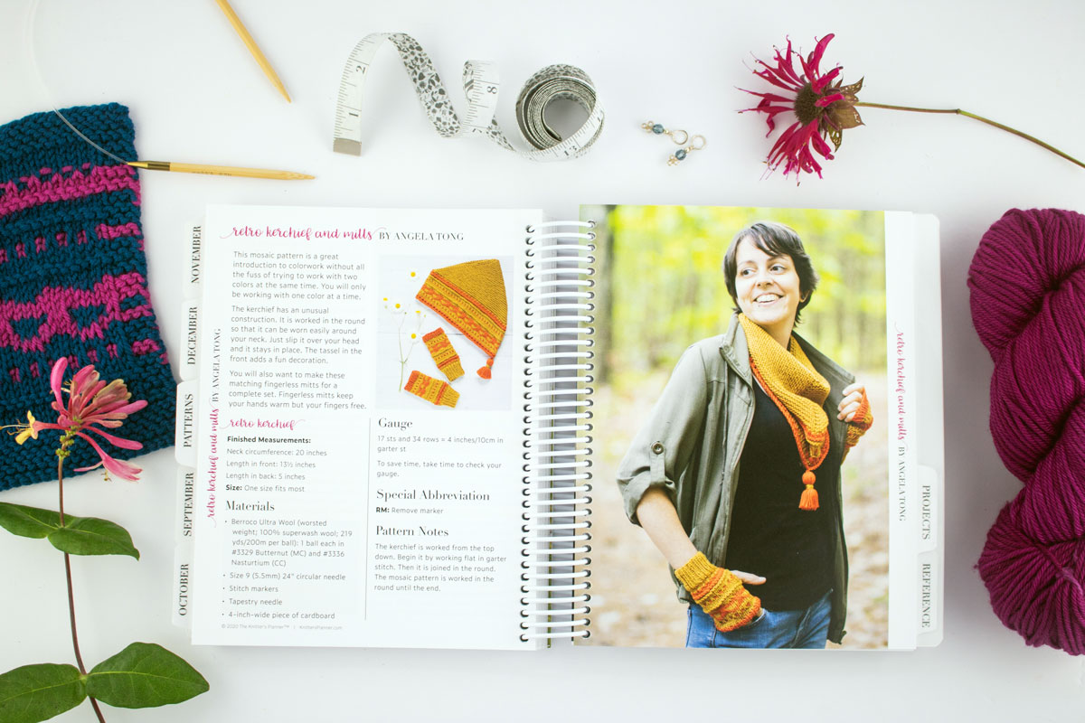 Patterns section featuring the Retro Kerchief and Mitts pattern by Angela Tong