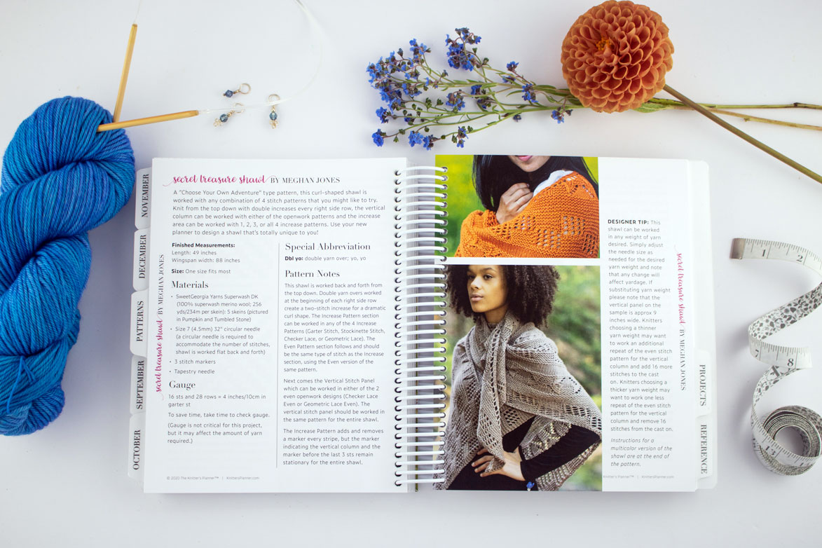 Patterns section featuring the Secret Treasure Shawl by Meghan Jones