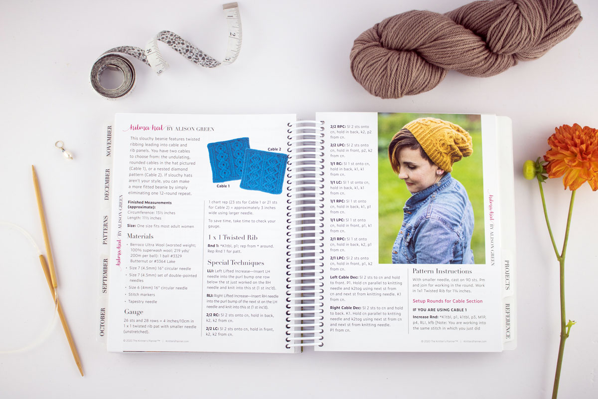 Patterns section featuring the Hilma Hat by Alison Green