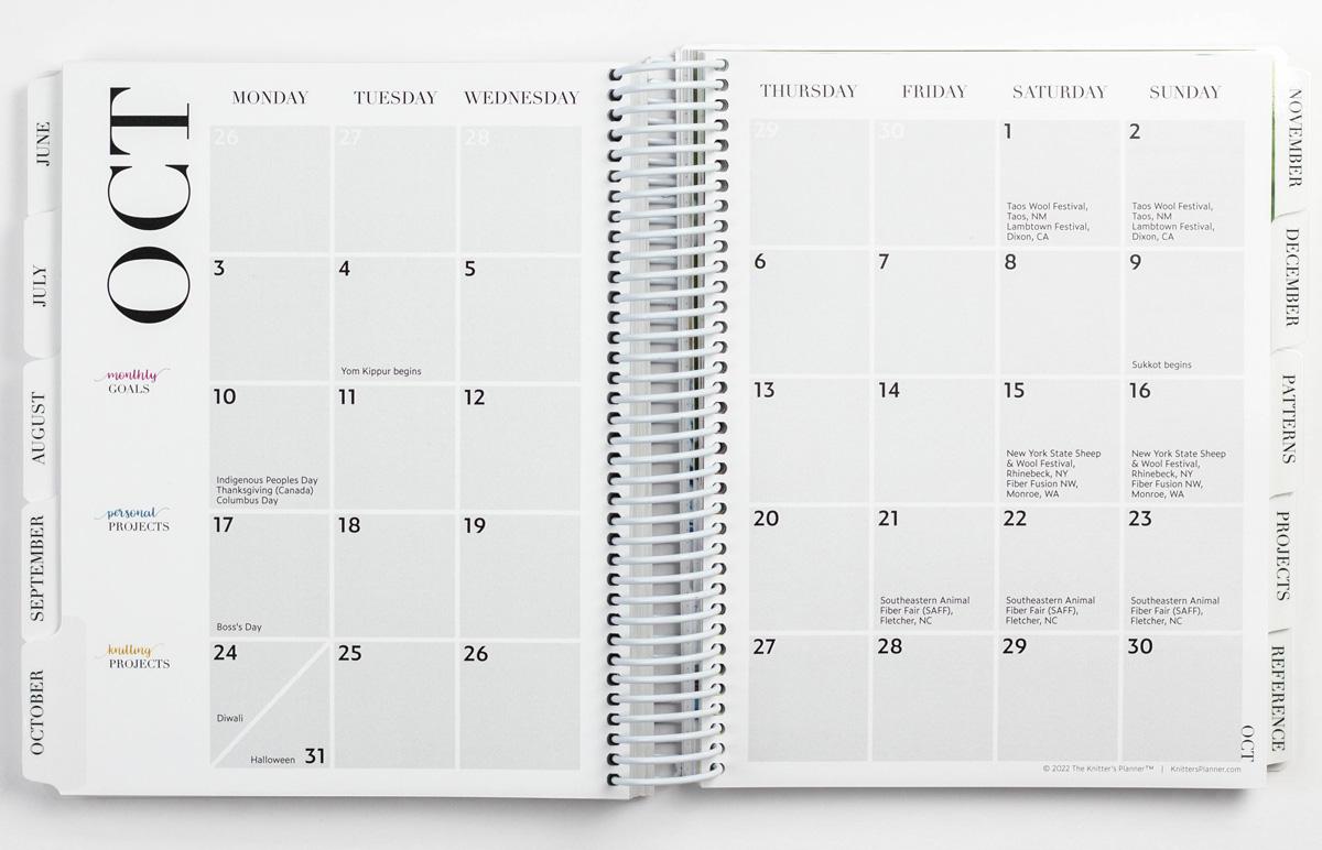 Monthly calendar, Monday start date